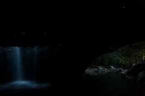 Glowworms in the Natural Bridge at Springbrook National park